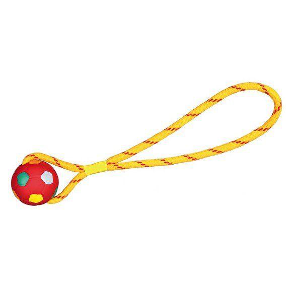 Trixie Vrhací míč fotbalový na šňůře 6 cm/38 cm, tvrdá guma TRIXIE