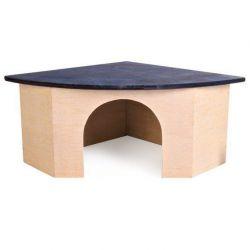 Zobrazit detail - Rohový dř.domek pro morče s modrou střechou 29x13x21/21 cm TRIXIE