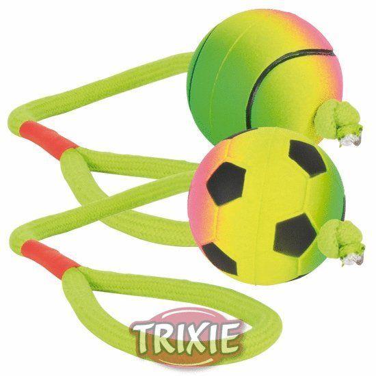 Trixie Neonový míč na šňůře, mechová guma, 6cm/30cm TRIXIE