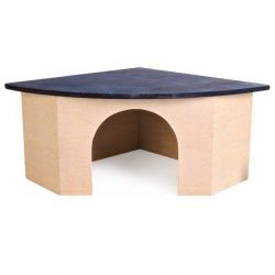 TRIXIE Rohový dř.domek pro morče s modrou střechou 29x13x21/21cm