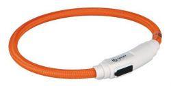 TRIXIE Svítící kroužek USB na krk pro kočky 35cm / 7mm oranžová