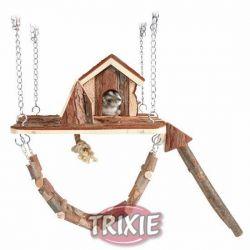 TRIXIE Dřevěné závěsné hřiště s domkem JANNE pro myši,křečky 26x22cm