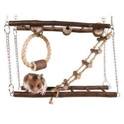 TRIXIE Natural Living dřevěný most dvojitý pro myši, křečky 27x17x7