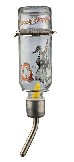 Trixie Skleněná napáječka s kovovým pítkem pro králíky 500 ml