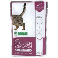 Nature's Protection Cat kapsa Adult Chicken & Salmon - Skin & Coat Care 100 g