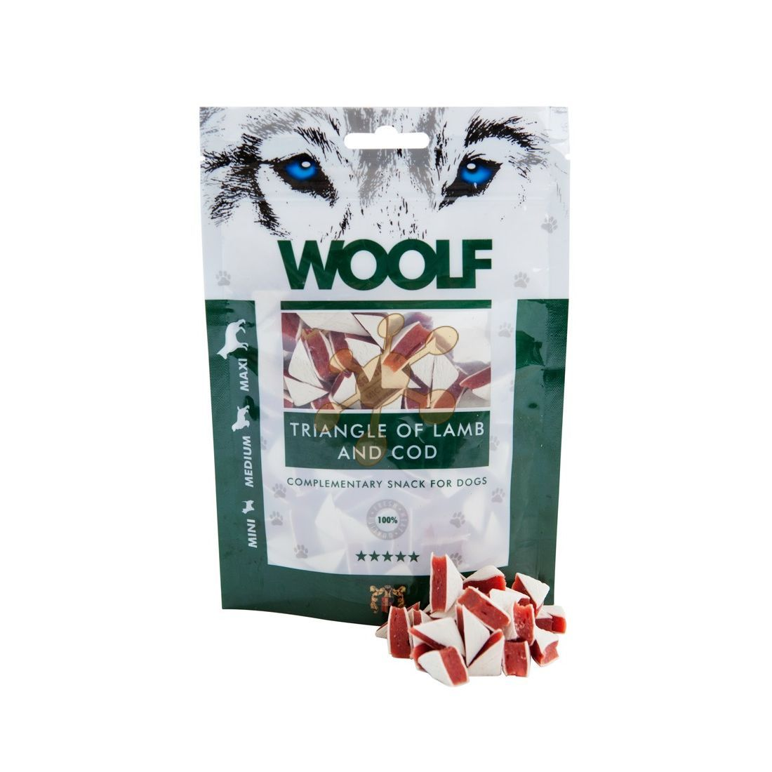 WOOLF pochoutka Lamb and Cod Triangle 100g WOOLF Snack
