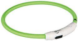 TRIXIE Svítící kroužek USB na krk L-XL 65cm / 7mm zelená