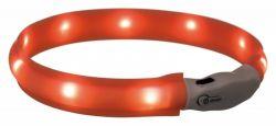 USB svítící obojek PLOCHÝ XS-S 35 cm/25 mm oranžový