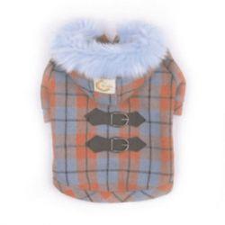 Kostkovaný kabátek s kapucí   M - 23 cm