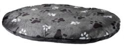 Oválný polštář GINO šedý s packami 50 x 35 cm