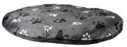 Oválný polštář GINO šedý s packami 90 x 65 cm