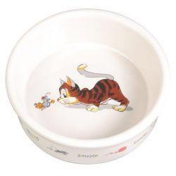 Keramická miska bílá, motiv kočka s myší 200ml/11cm