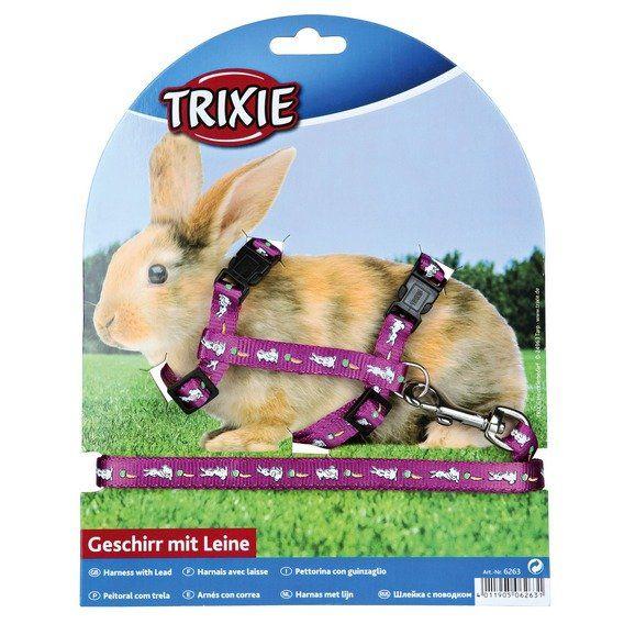 Nylon. postroj s vodítkem na králíka - motiv 25-44/1cm 1,25m TRIXIE