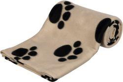 Flísová deka BARNEY 150x100cm,  - béžová s černými tlapkami