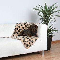 Flísová deka BEANY 100x70cm,  - béžová s černými tlapkami