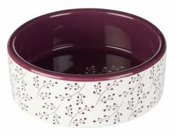 Keramická  miska 1,4l/20 cm bílá s motivem rostlin/berry