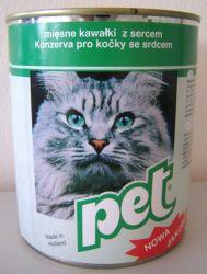 PET KATZE masové kostky se srdcem/jehněčím/ pro kočky  855 g