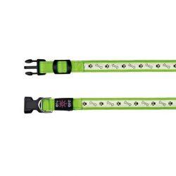 Svítící obojek USB, S-M 30-40 cm/25 mm zelený