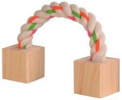Bavlněný most s dřevěnými kostkami pro hlodavce 20 cm