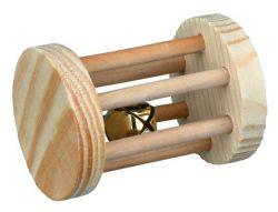 Dřevěný váleček s rolničkou hračka pro morče, králíka 5 x 7 cm