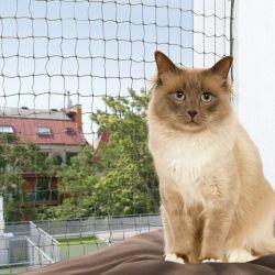 Ochranná síť pro kočky, tkaný drát, olivová 2x1,5m