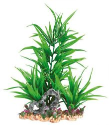 Plastová akvarijní rostlina se sklakou, na podstavci 28 cm