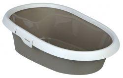 WC pro kočku PAULO II. s okrajem 39x17x58 cm béžovo/krémové