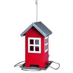 Zahradní krmítko kovové, barevný domeček 19x20x19 cm,  - zelený/stříbrná střecha