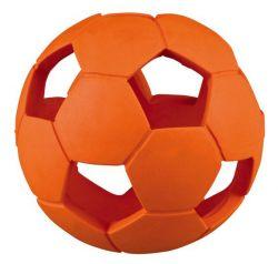 Míček fotbalový s dírami, tvrdá guma 7 cm