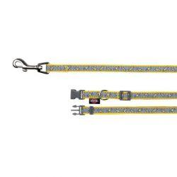 !Obojek s vodítkem XS-S 22-35cm/1cm 1,2m šedo-žlutý DOPRODEJ