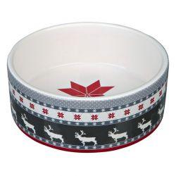 Vánoční keramická miska 0,8l 16 cm, šedo/červeno/bílá DOPRODEJ