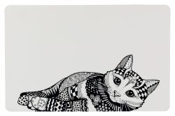 Prostírání Place Mat kočka 44 x 28 cm bílo/černé