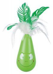Hračka pro kočky POP-UP žába s peřím, vibrační 6 x 25 cm