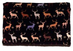 Vánoční plyšový obdelníkový polštář hnědý 90 x 65 cm
