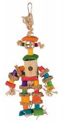 Závěsná hračka bambusová postava, přírodní materiály 25 cm