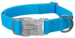 Neonový obojek se svítící karabinou S-M 30-45 cm/20 mm modrý