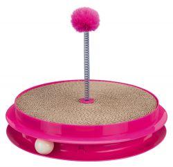 Hračka pro kočku kruh se škrab.kartonem, kuličkou a hračkou