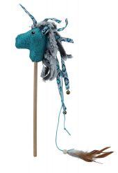 Plyšový kůň na tyčce, plyš/látka 37 cm