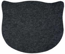 Prostírání ve tvaru kočičí hlavy, plstěné šedé 45 x 37 cm