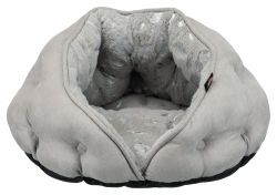 Plyšová jeskyně Feather 65 x 60 cm šedá/stříbrná