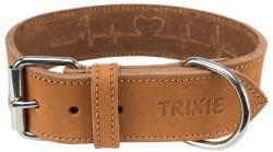 Rustic kožený obojek Heartbeat, L-XL: 55-65cm/40mm, hnědá