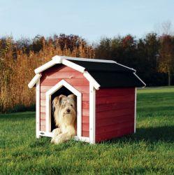 !Country bouda pro psa S-M 71x69x75 cm červeno/bílá DOPRODEJ