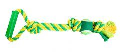 Přetahovadlo s rukojetí HipHop 3 uzly, tenisák 45 cm / 310 g limetová, zelená