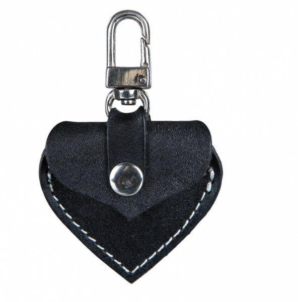 Adresář kožené srdíčko s kovovou karabinkou 5,5x5 cm, - černé TRIXIE